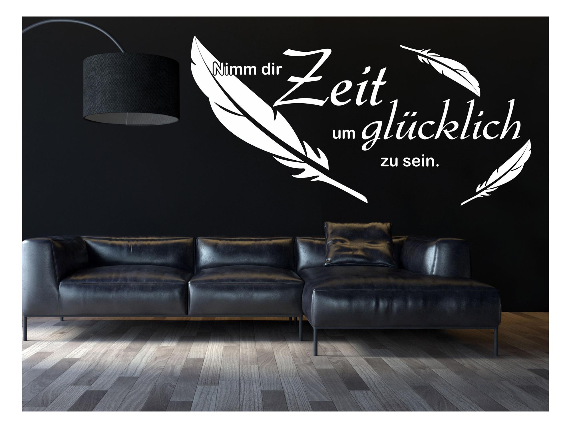wandtattoo nimm dir zeit um gl cklich zu sein schlafzimmer wohnzimmerr 108 ebay. Black Bedroom Furniture Sets. Home Design Ideas