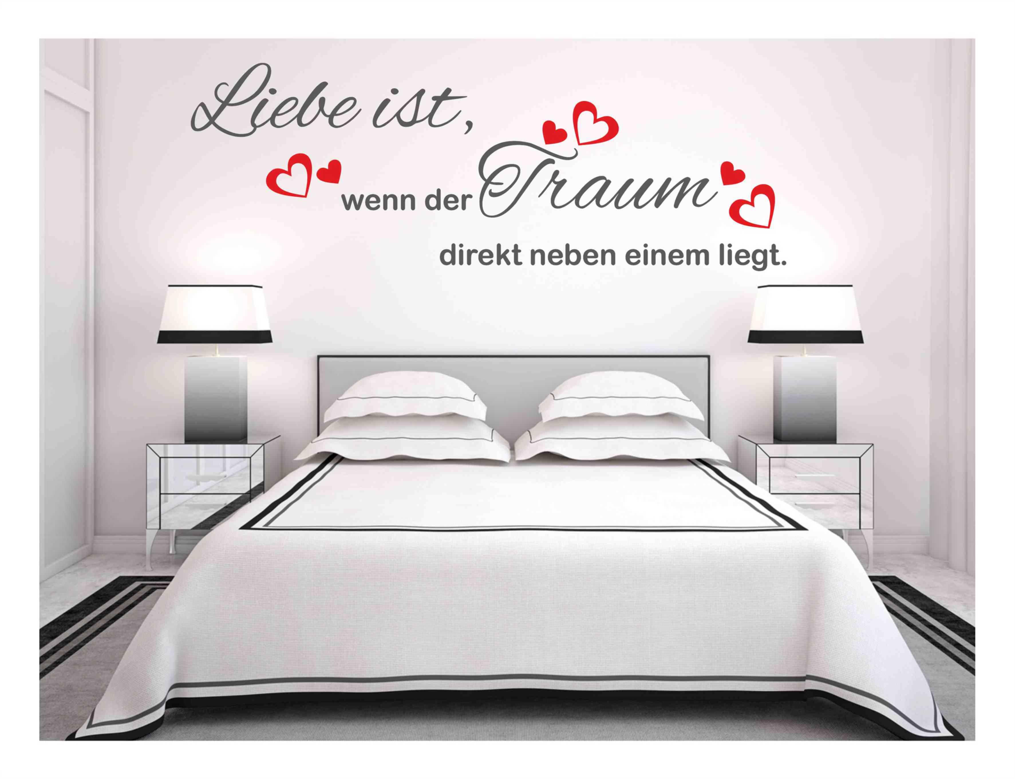 wandtattoo liebe ist spr che herz schlafzimmer traum aufkleber 114 ebay. Black Bedroom Furniture Sets. Home Design Ideas