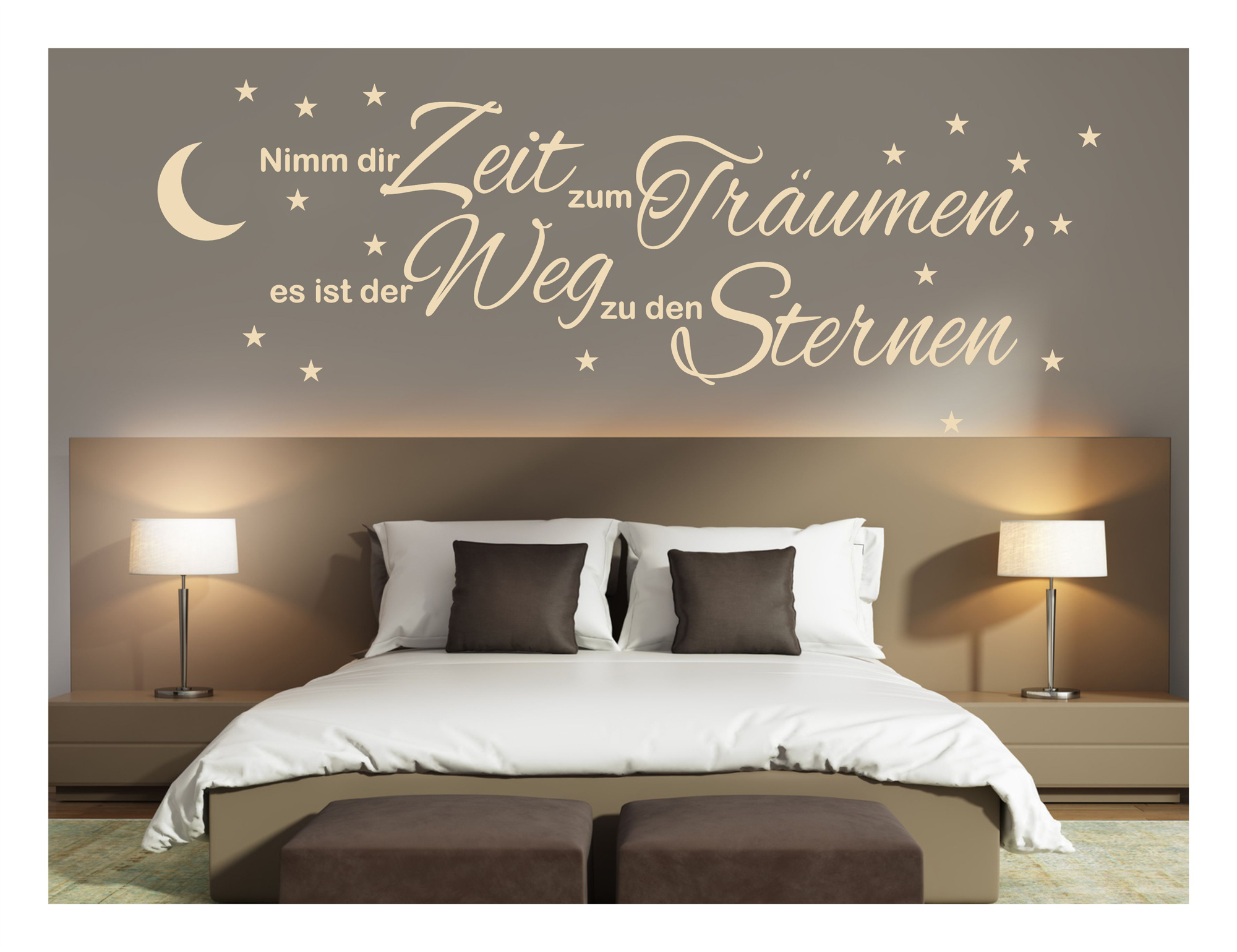 wandtattoo schlafzimmer nimm dir zeit zum tr umen. Black Bedroom Furniture Sets. Home Design Ideas