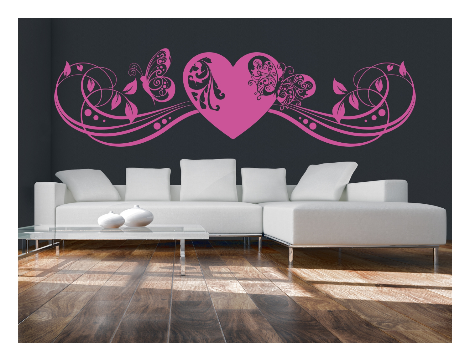 wandtattoo herz liebe schmetterling schlafzimmer ranke aufkleber tattoo 301 ebay. Black Bedroom Furniture Sets. Home Design Ideas